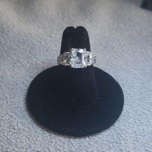 Emerald cut cubic zirconia ring
